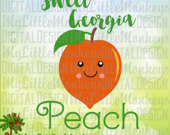 Peach SVG ~ Sweet Georgia Peach ~ Peach Shirt ~ Peach Clip Art ~ Kids svg ~ Peach Decal ~ Commercial Use SVG ~ Clipart, Cut File eps~dxf~png