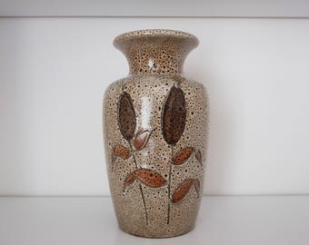 1970's West Germany Vase by Scheurich with Cattail Plant decoration