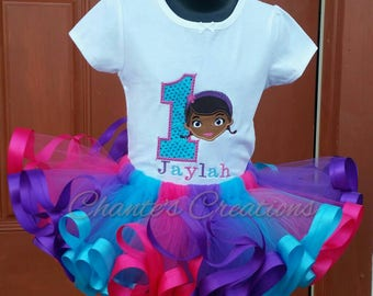 Doc Mcstiffins 1st birthday embroidery tutu set; pink, turquoise and purple