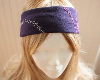 Purple embroidered jersey headband