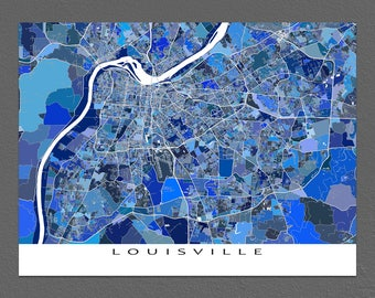 Louisville Map, Louisville Kentucky, Louisville Art Print, City Maps