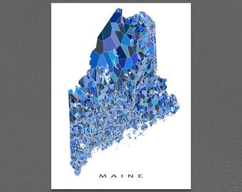 Maine Map Print, Maine State Art, ME Wall Decor