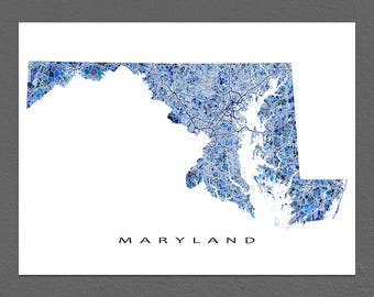Maryland Map Print, Maryland State Art, MD Wall Artwork