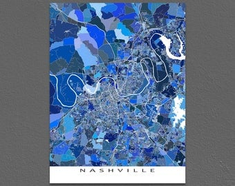 Nashville Art, Nashville Map Print, Nashville Tennessee USA City Maps