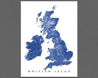British Isles Map Art Print, United Kingdom Map, Ireland, Great Britain, UK