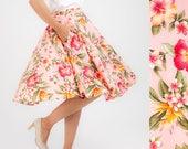 Pink Skirt Tropical Skirt Floral Skirt Full Circle Skirt Swing Skirt Midi Skirt Summer Skirt Plus Size Clothing Pinup Skirt Rockabilly Retro