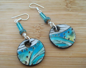 Polymer Clay Glazed Abstract Earrings. Ceramic/Glass bead dangle.  Retro/abstract/bohemian/tribal
