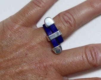 Navy blue leather, silver plated ring