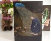 Star Gazing Mole Greetings Card
