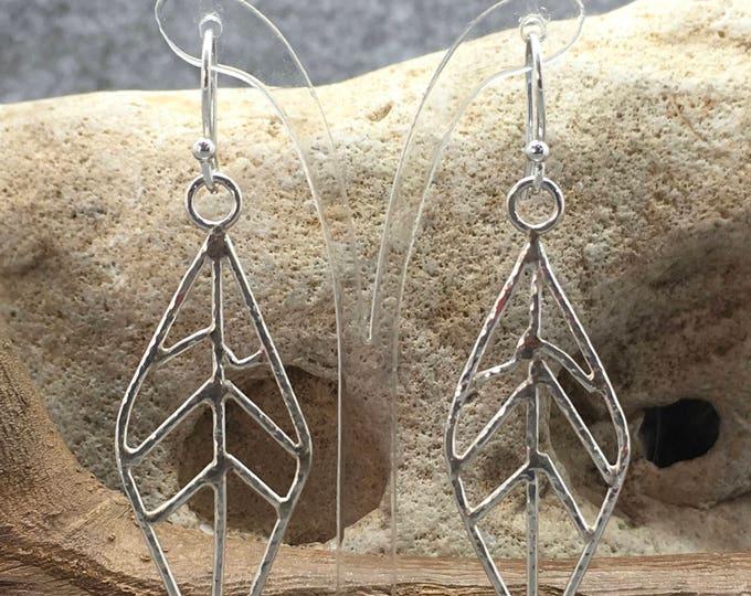 Sterling Silver Leaf Earrings Hallmarked