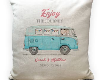 Personalised VW Camper Van Cushion Cover - Wedding Gift - Enjoy the Journey - Happy Couple - Home Decor - 40cm 16 inches