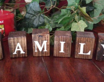 Homemade Wood Family Blocks, Family blocks, Wood blocks, Homemade sign, Family sign