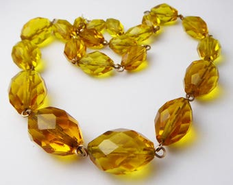 Antique Art Deco Amber Manganese Glass Necklace on Rolled Gold wire