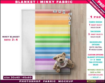 Blanket on Wood Floor | Photoshop Fabric Mockup | 30x40 Top Full Minky Blanket | Stitches Tags | Teddy Bear | Smart Object Custom colors