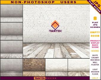 Empty Room JPG Interior Scene ER-C6 | Non-Photoshop | Blank White Brick Plaster Wall | Light Wooden Floor | Product Display Scene Creator