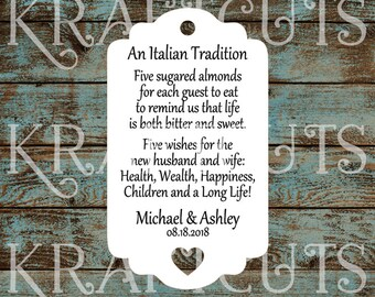 Favor Tags, Jordan Almond Favor Tags, Sugared Almond Favor Tags, Italian Wedding Favor Tags with Heart Cut Out #772 - Quantity: 30 Tags