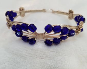 Sterling Silver Wire Wrapped Bracelet with Blue Crystal Bicone Beads