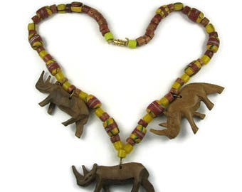 Carved Wood Rhino Boho Necklace