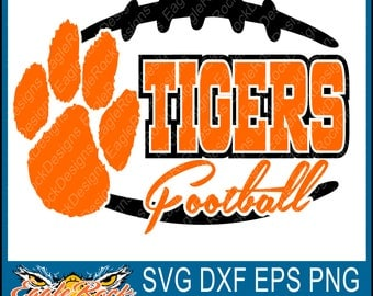 Tigers Football SVG| Tigers| Football| Paw| DXF| EPS|  Png| Silhouette| Cricut| Cut File| Instant Download