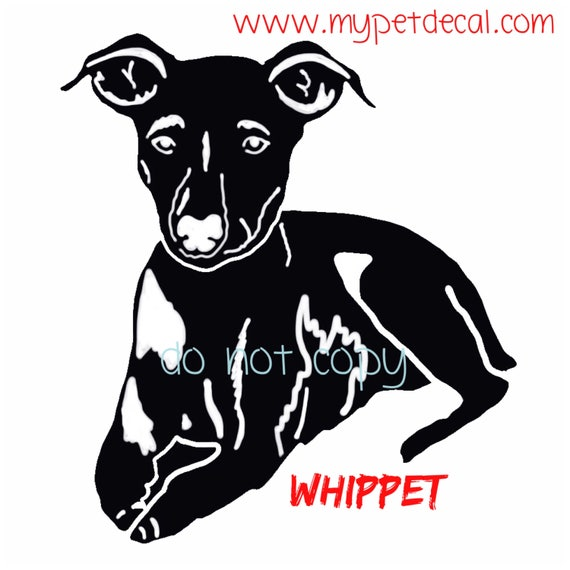 WHIPPET decal | FREE shipping | decals for Yeti tumblers, cars, laptops, devices etc | wall decals upon request