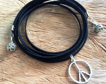 Grunge jewelry black choker necklace wrap choker necklace, peace sign choker, hippie choker, black suede choker, 90s choker jewelry, gift