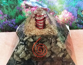 """Very Large 4"""" ORGONE PYRITE Crystal Energy GENERATOR Pyramid With Copper Coil and Copper Wrapped Crystal Point, Orgonite, Sacred Geometry"""
