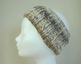hand knit ear warmer natural brown gray kids chunky headwarmer girl size 6-11 yrs warm comfortable knit no seams thick yarn headband boy