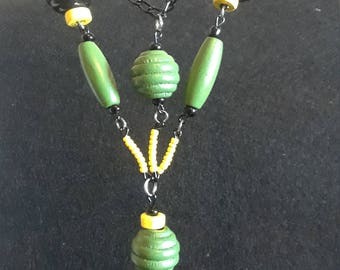 John Deere inspired tractor charm necklace