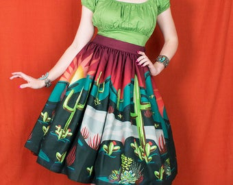 Cactus Dreams Novelty Print Skirt by Denialle Von Fitch