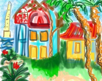 Digital I pad paintings, colorful, playful, energetic, happy