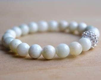 New Jade Bracelet / Serpentine Bracelet / Meditation Bracelet / Yoga Bracelet / Gemstone Bracelet / Birthday Gift Idea / Beaded Bracelet