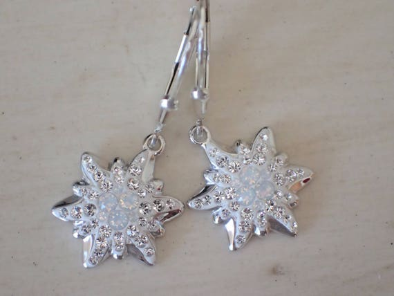 Swarovski White Opal Edelweiss Earrings, Sterling Silver