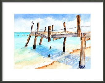 Beachy decor, ORIGINAL Watercolor, 9x12 Pier Painting, Old Fishing Pier, Nautical, Beach House art, Playa Del Carmen, tropical Ocean, rustic