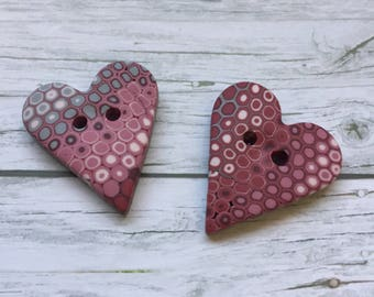 3 Buttons large 37mm handmade triangular red