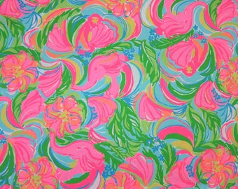 """31"""" x 55"""" New Lilly Pulitzer 2016 Spring Cotton Sateen Fabric """" So a Peeling  """""""