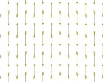 1 Yard Gold Sparkle Basics Arrows by Riley Blake Designs- SC465 Gold
