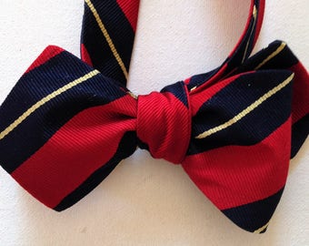 Silk Bow Tie  for Men - Fraternity  - One-of-a-Kind, Handcrafted - Self-tie - Free Shipping