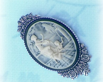 Brooch Cameo Pin Mother Child Angel  Victorian Greek Vintage Style Steampunk Antique SIlver Style