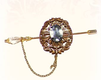 Victorian Shawl Pin Brooch Gold Crystal Steampunk Vintage Style Scarf Pin Hair Slide Edwardian Filigree  Antique Inspired Stick Outlander