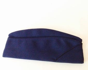 Military Hat Navy Blue Garrison Cap Flight Ace Cap Army Enlisted Service Blue Piping 7 1/8 Poly Wool Servicemen US Army Solidier