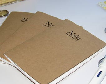 "Set of 3 Midori Inserts--""Notes"" Kraft Paper Traveler's Notebook Insert A7 Passport Field Notes Personal A6 B6 Regular Cahier A5 Sizes"