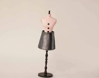 Dark silver blythe skirt Leather doll skirt Handmade silver skirt Short blythe skirt Leather blythe outfit Dark silver doll skirt Licca doll