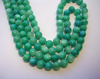 Teal Blue Mother of Pearl Rounds 6mm  Shell Beads 15 inch strand 55 Beads Shimmery 6mm Mother of Pearl Rounds Sea Blue Beads