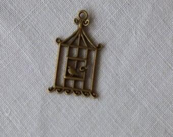 3 ref bronze bird cage charms