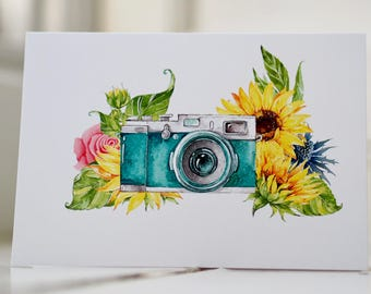 Camera Sunflower, Rose and Thistle Floral Greetings Card