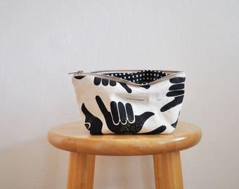 zipper bag // shaka // small // handprinted // black and white
