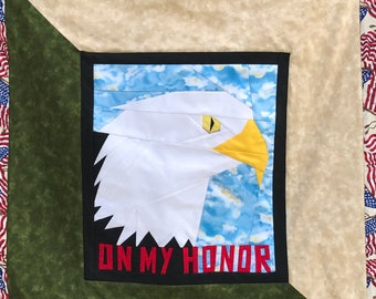 Custom made Eagle Scout, Boy Scout quilt wallhanging to display patches and awards, Eagle Scout gift, On My Honor, Scouting awards display