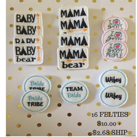 Mama Bear Felties/Felt Embellishments/Planner Supplies/Planner Feltie/Wholesale Felties/Bow Embellishments/Camera Feltie