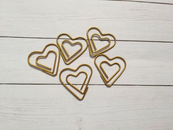 Gold Heart Paperclip, planner clip, bookmark. Heart Planner Clip. Metal Planner Clip. Gold Planner Clip
