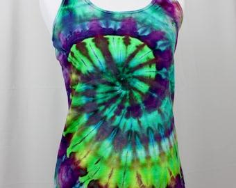 Medium Tie Dye Ice Dye Green / Purple / Blue Racerback Tank Top